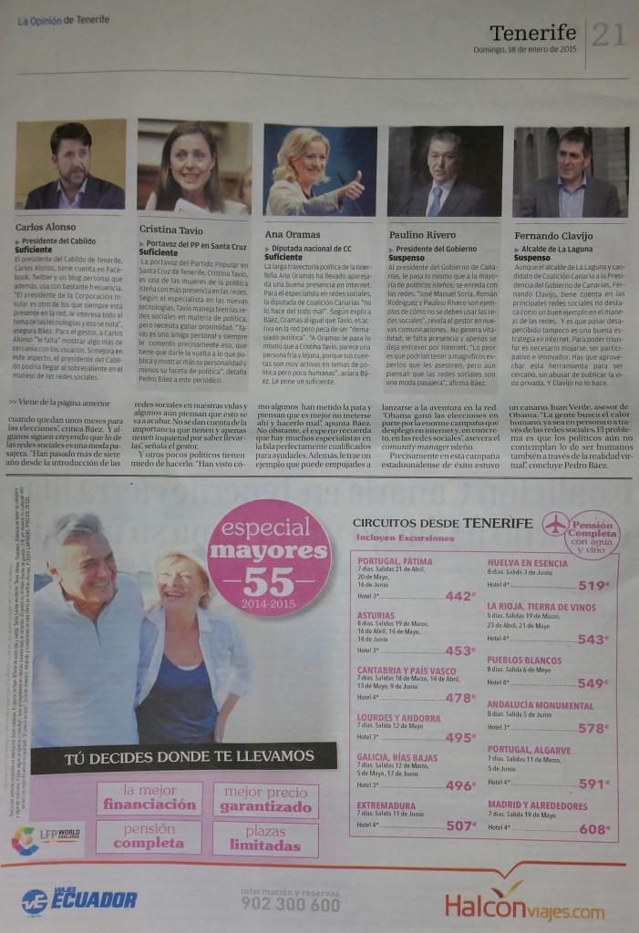 Pagina 20, Artículo: Los políticos se enredan en la red (la Opinion de Tenerife)