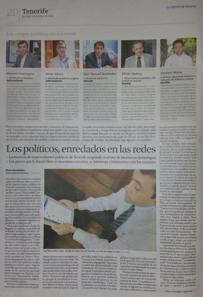 Pagina 19, Artículo: Los políticos se enredan en la red (la Opinion de Tenerife)